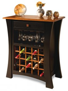multi-toned wooden wine rack