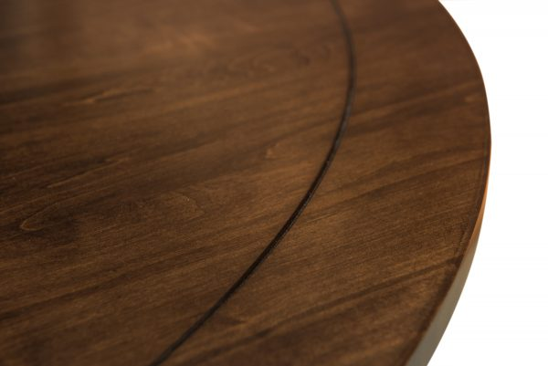 close up of round wooden tabletop