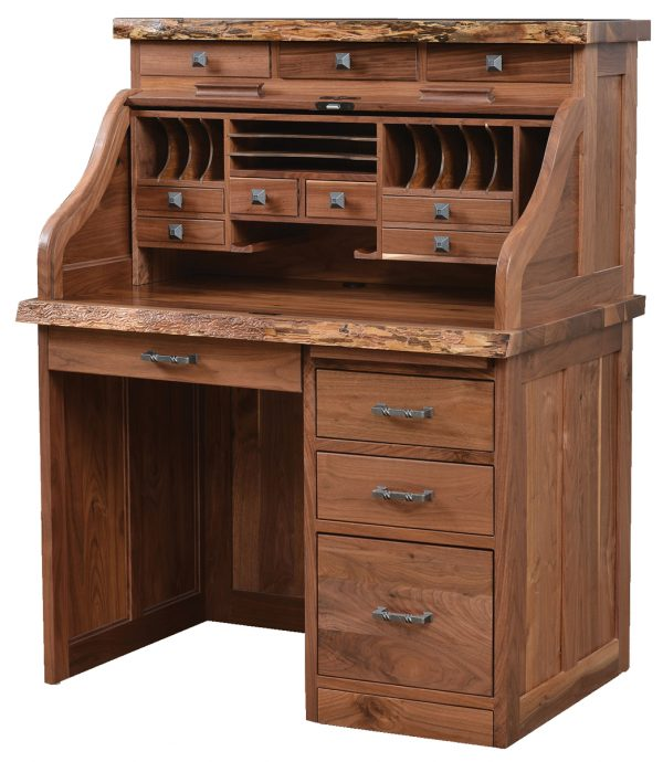 A small, wooden desk with multiple drawers