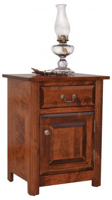 A small end table with a lantern on top