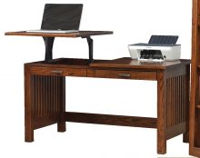 A wooden adjustable standing or sitting desk with 2 drawers