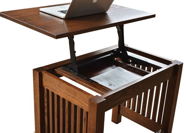 A wooden adjustable standing or sitting desk with a drawer