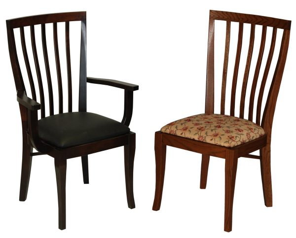 2 wooden kitchen chairs in a dark and light color, respectively, with cushions