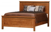 light brown wooden bed frame with a mattress and pillows