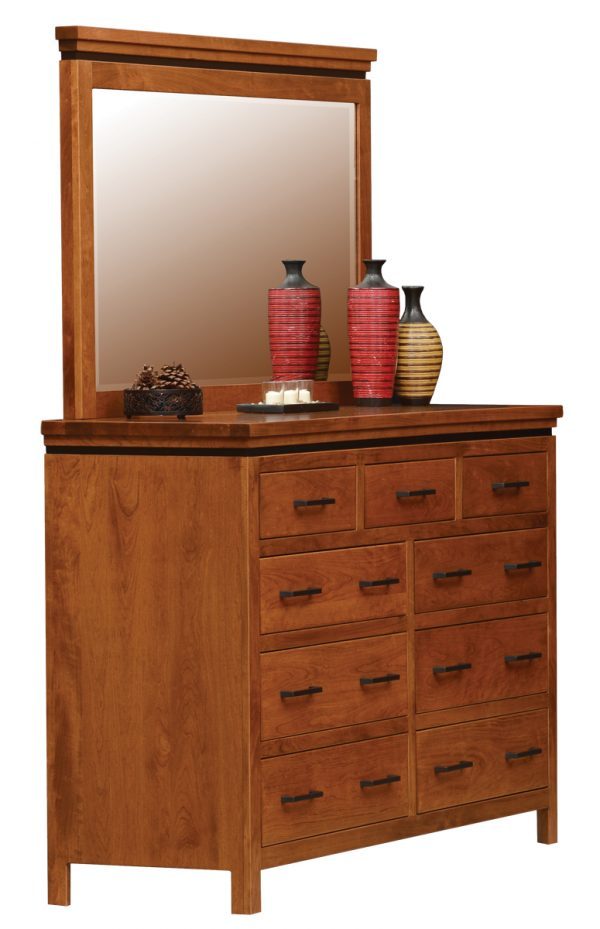 light brown wooden dresser with multiple drawers and a mirror