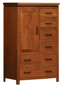 light brown wooden cabinet with a door and 6 drawers