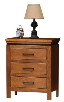 light brown wooden nightstand with 3 drawers