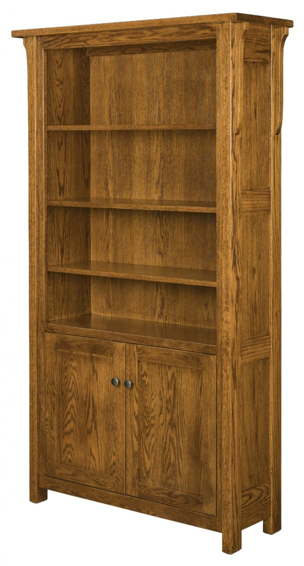 wooden dresser with multiple shelves and 2 doors