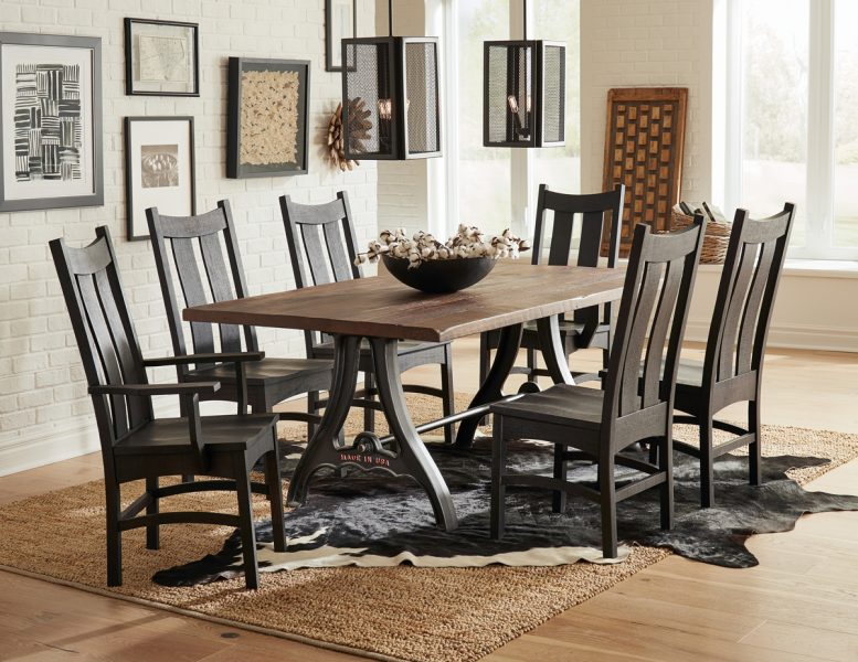 Country-Shaker-Chairs-and-Iron-Forge-Reclaimed-Barnwood-Table-Set