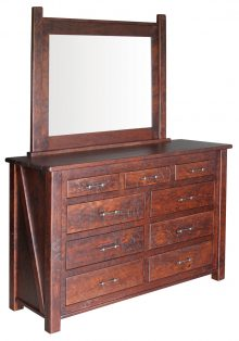 Early American Rustic Dresser With Mirror In Cherry