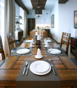 Dining area table setting